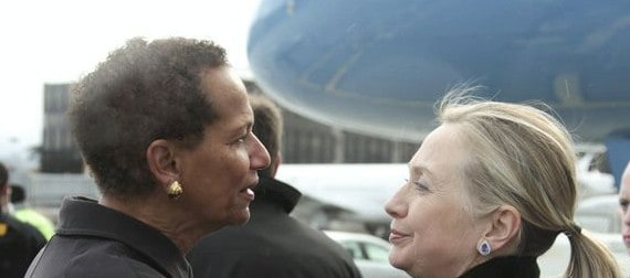 Betty E. King, US ambassador to the UN in Geneva, greeting Secretary of State Hillary Clinton