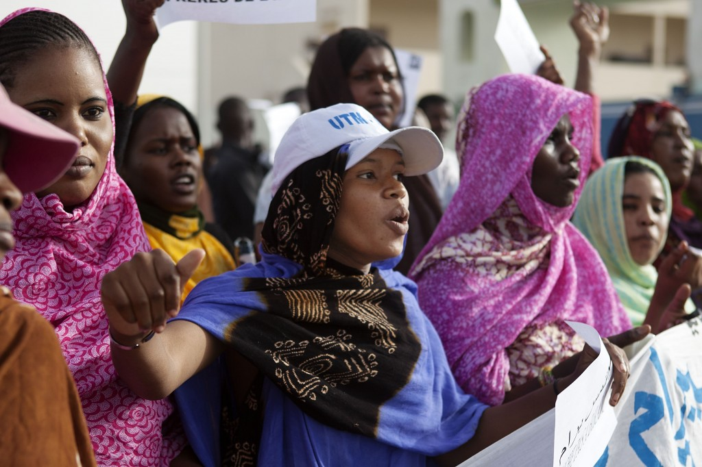 Women protest in an antislavery event in Nouakchott, Mauritania's capital, on May 26, 2012. JOE PENNEY