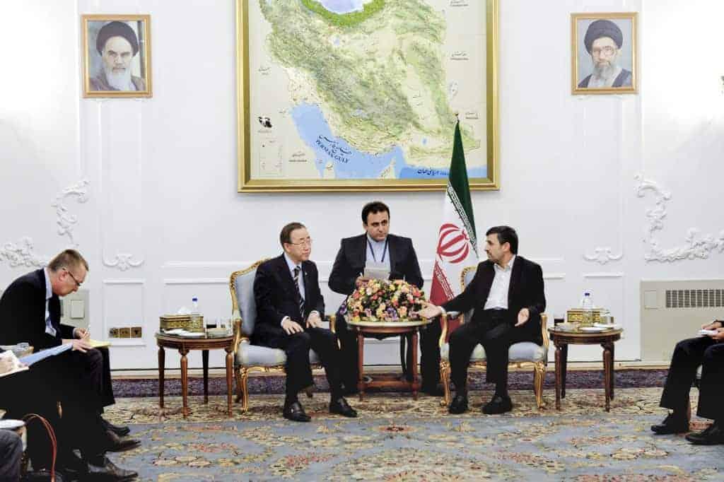 Ban Ki-moon meets with Mahmoud Ahmadinejad in Iran.