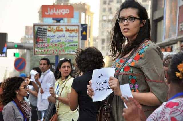 Egyptian women protesting sexual harrasment and violence.