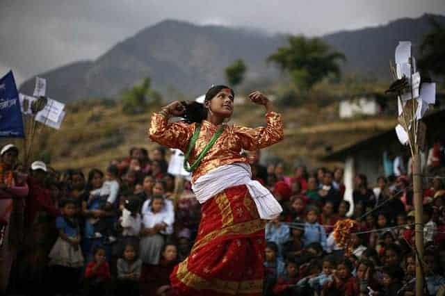 Nepali woman dancing