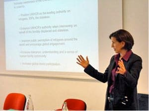 Melissa Fleming at UN Staff College in Turin, Italy