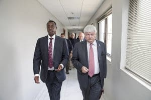 Under Secretary General for DPKO, Herve Ladsous, meets Rwandan Defence minister, Gen. James Kabarebe, in Kigali to discuss maters over M-23 crisis in eastern DRC, Sept. 12, 2012