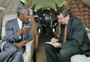 Kofi Annan, UN secretary-general, with Fred Eckhard, UN spokesman