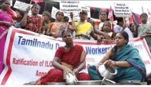Women domestic workers in India commemorating Domestic Workers Day.