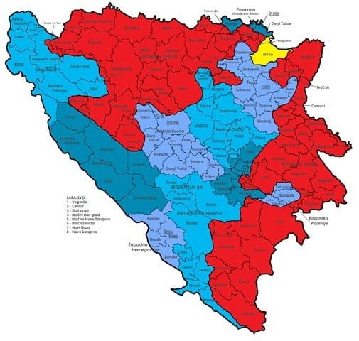 Bosnia-Herzegovina political map