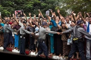 Crowds in Yangon, Burma, upon Obama's arrival