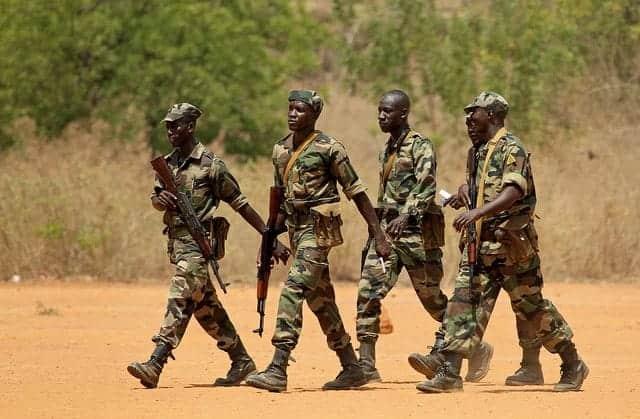 Malian soldiers training at the Koulikori camp.