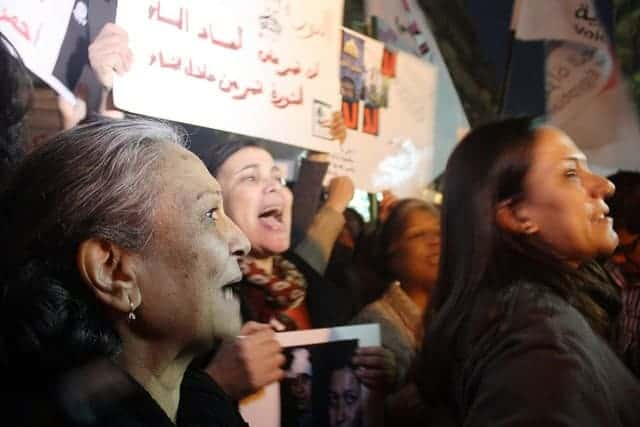 Women in Cairo protesting sexual harrassment
