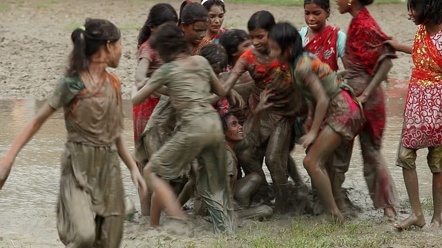 Girls playing soccer in Bangladesh