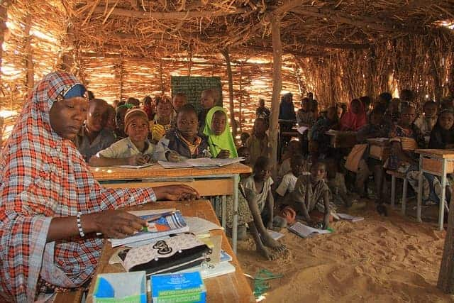 Teacher and class in Niger.