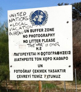 Ledra Palas crossing - buffer zone - UN sign