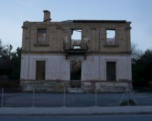 Bombed out house in Ledra Palace crossing