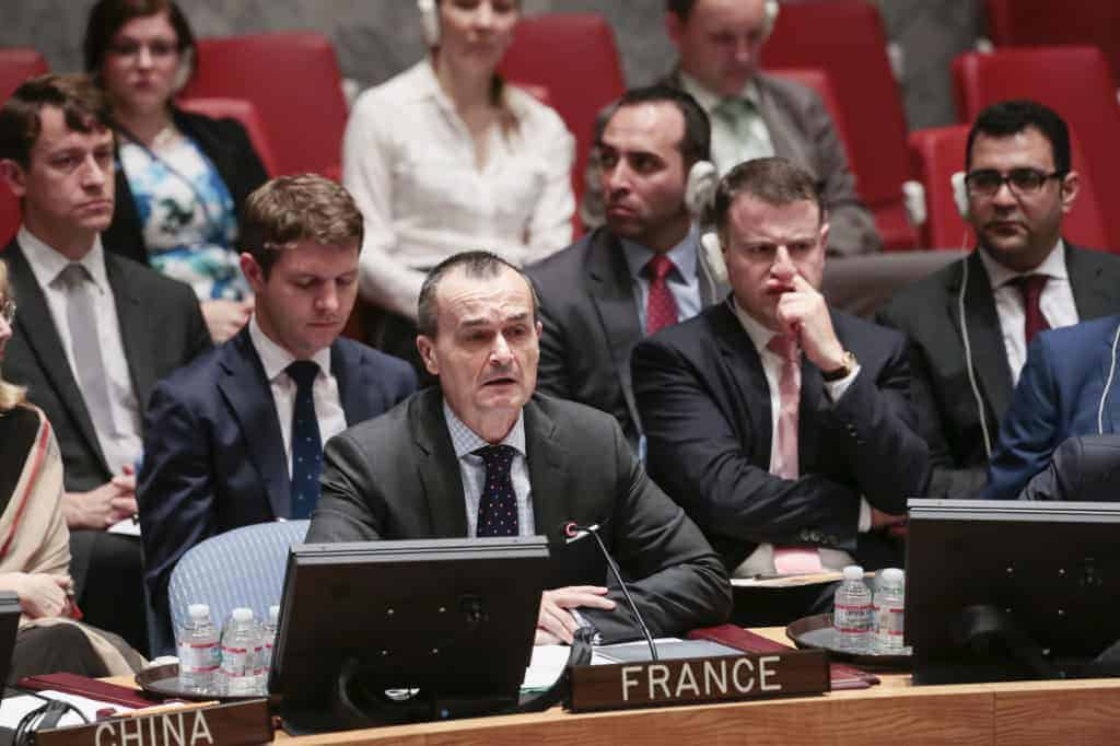 Gerard Araud, the French ambassador to the UN, addresses the Security Council on May 22, 2014, to vote on a resolution that would have referred the situation in Syria to the International Criminal Court. It failed to pass.