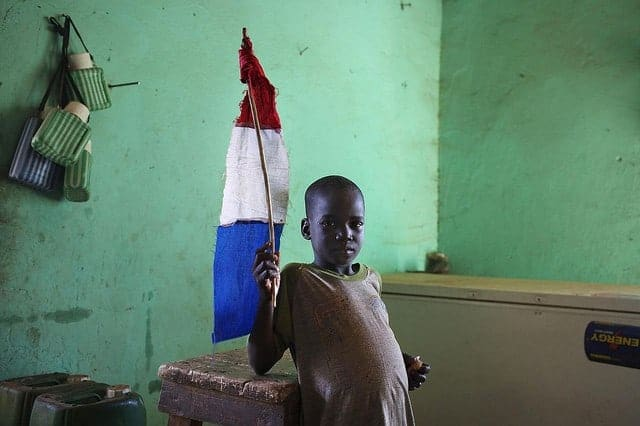 A Malian with a French flag, during the military intervention in 2013. JOE PENNEY/REUTERS