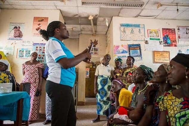 Demonstrating the use of a condom to women at a Marie Stopes family planning clinic in Nigeria.