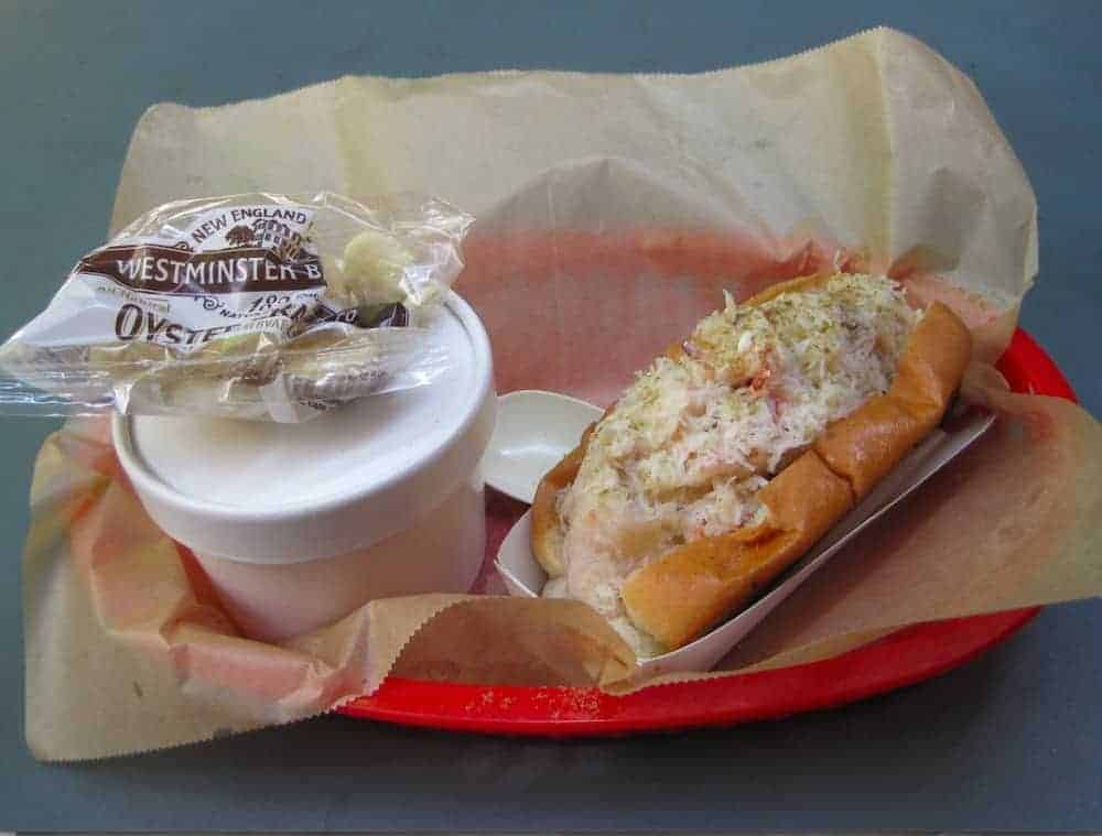 A crab roll from Luke's Lobster, reinforced with spicy crabmeat soup. IRWIN ARIEFF