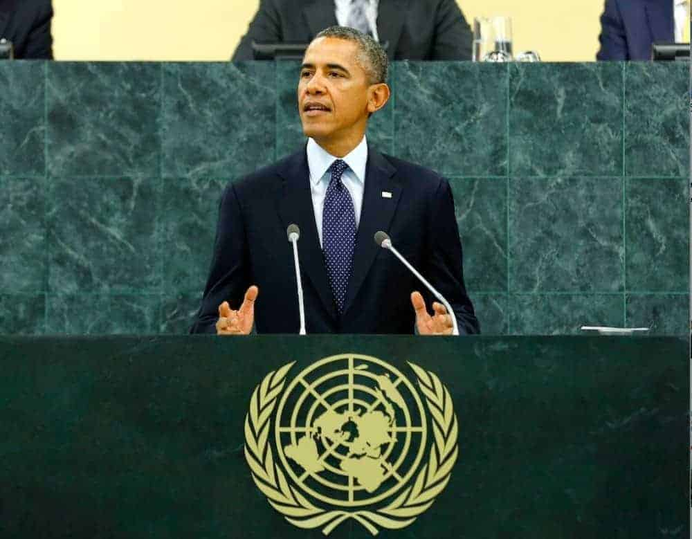 Barack Obama, president of the United States, speaking at the opening of the 69th session of the General Assembly.