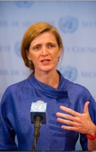 Samantha Power, the American ambassador to the United Nations, speaking to the media on Sept. 3, 2014.