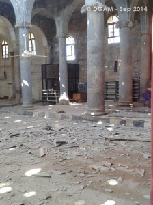 The Syrian Directorate General of Antiquities and Museums has been assessing damage to various sites, including the ancient city of Basra, a World Heritage Site. The Omari Mosque, above, has suffered extensive damage.