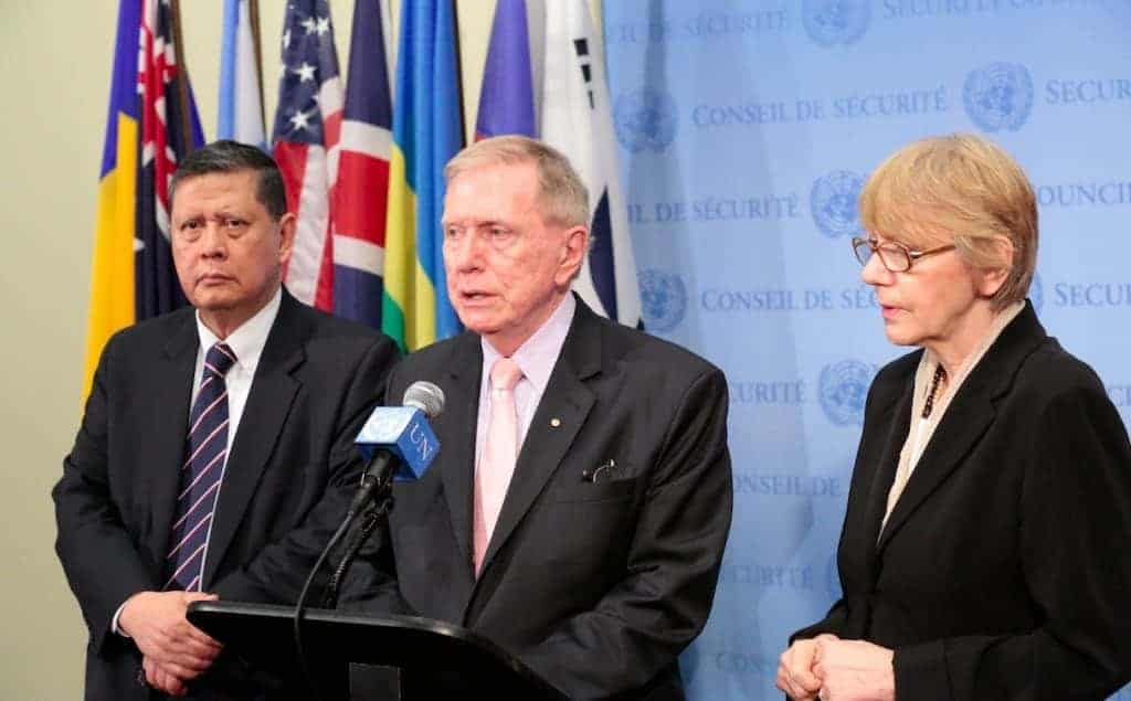 Michael Donald Kirby (Australia), Chairperson of the Commission of Inquiry on Human Rights in North Korea, speaks to journalists following a Security Council meeting. On the right is Marzuki Darusman (Indonesia) and left is Sonja Biserko (Serbia). 17 April 2014