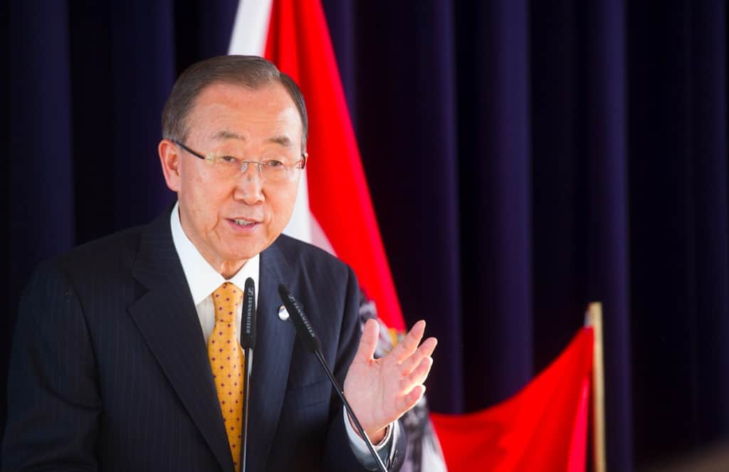 Ban Ki-moon, the United Nations secretary-general. His term ends in 2016, and possible successors are already lining up. Here, he speaks at the Business and Investment Forum in Vienna, November 2014. AMANDA VOISARD/UN PHOTO