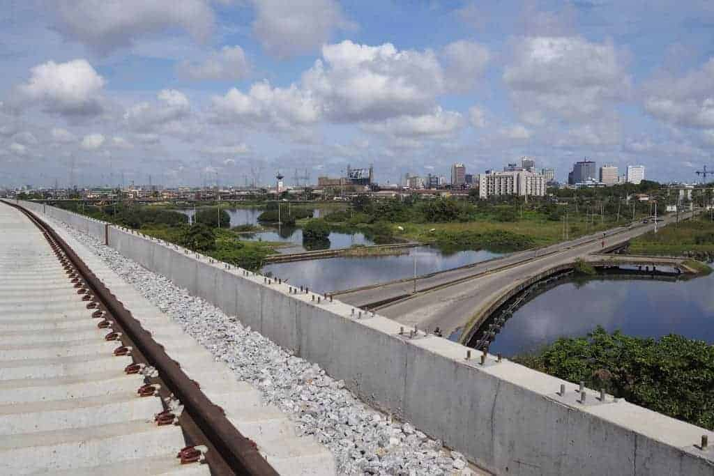 A Chinese-built light-rail system under construction in Lagos, Nigeria. JOE PENNEY