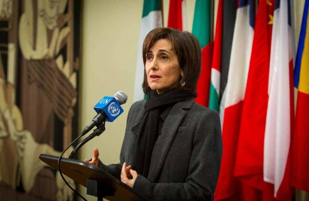 Dina Kawar, Jordan's ambassador to the United Nations, meets with the press after the Dec. 30 vote on Palestinian statehood failed in the Security Council. LOEY FELIPE/UN PHOTO
