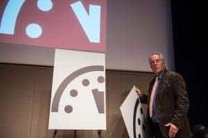 The Doomsday clock has been moved to three minutes to midnight. The unveiling of the change ,above, at