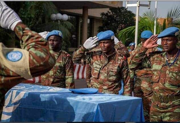 A memorial head for two Minusma peacekeepers, from Burkina Faso, was held at the UN headquarters in Bamako, the capital, in August 2014. MARCO DORMINO/UN PHOTO