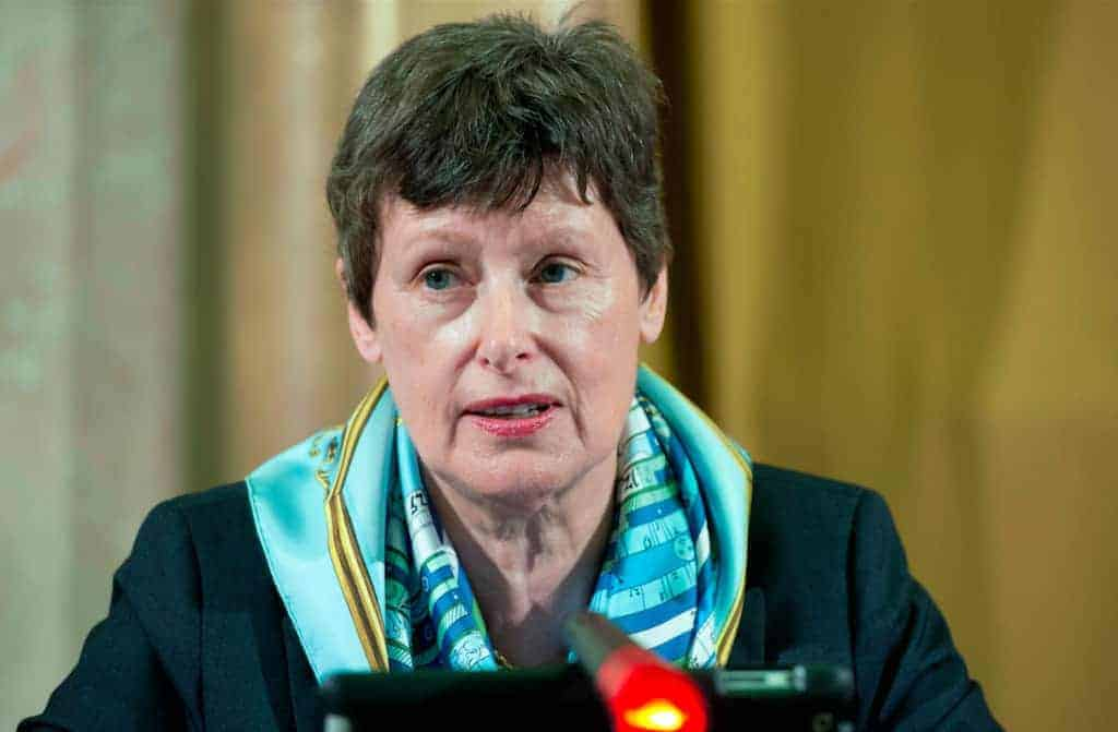 Angela Kane, the UN High Representative for Disarmament Affairs, addressing the 2013 session of the Conference on Disarmament in Geneva.