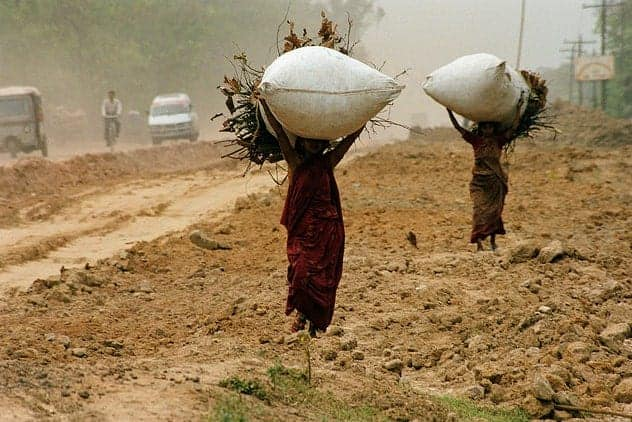 Bangladesh women carry bundles of sticks. SCOTT WALLACE/WORLD BANK