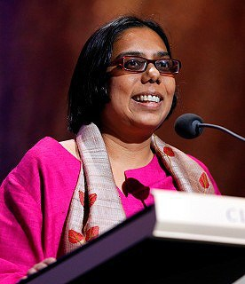 Ruchira Gupta accepting her aware at the Apollo Theater in New York.