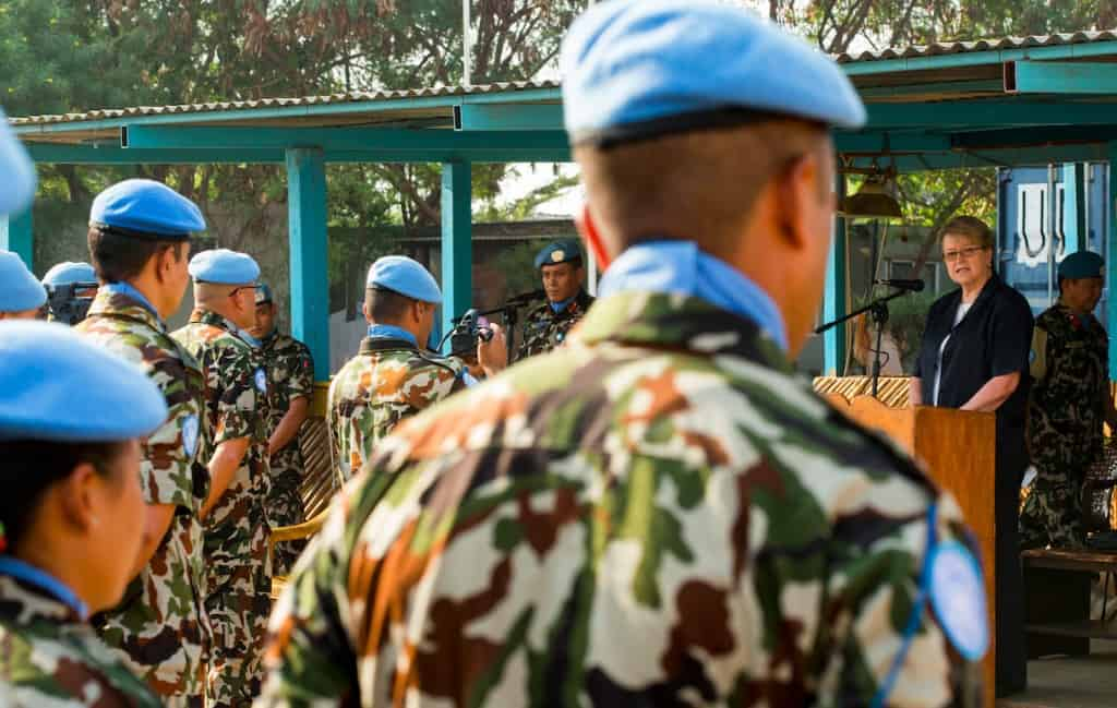 United Nations peacekeepers participating in a ceremony at the mission in South Sudan.