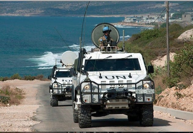 Italian troops in the UN mission in Lebanon, called Unifil, en route to the blue line in southern Lebanon. PASQUAL GORRIZ
