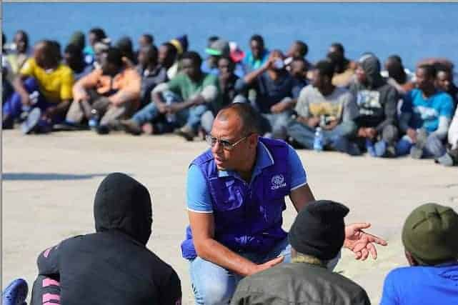 Migrants at the port of Augusta in Sicily rescued and briefed by the International Organization for Migration. FRANCESCO MALAVOLTA/IOM