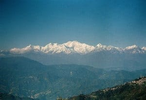 Mount Kanchenjunga, viewed from Darjeeling. The mountain