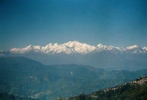 Mount Kanchenjunga, viewed from Darjeeling. The mountain
