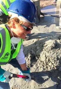 Marion Maloney, from New Jersey, participating as a volunteer in a Habitat home-building mission in Cape Town.