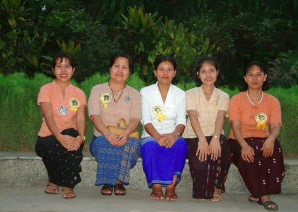 Mya Mya Aye, 62 (second from left) with other Burmese women in Delhi. Mya Aye is in state of great excitement because she hopes to catch a glimpse of her leader, Nobel laureate Aung San Suu Kyi when she is in India to deliver the Jawaharlal Nehru Memorial Lecture.(Credit: Ninglun Hanghal\WFS)