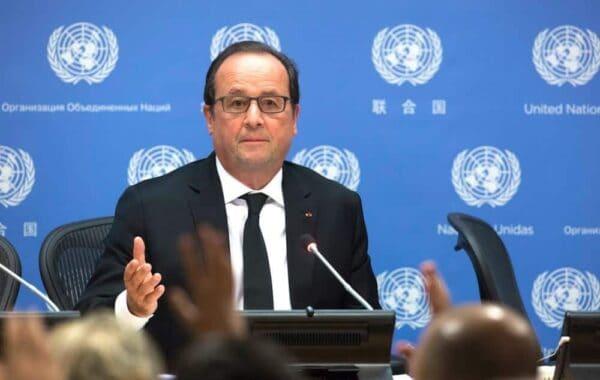 President François Hollande of France addresses a press briefing on climate change, EVAN SCHNEIDER/UN PHOTO