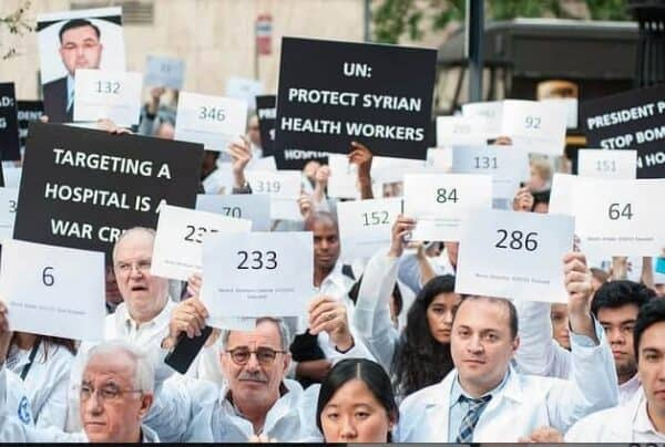 "A ""die-in"" by the group Physicians for Human Rights to stop the bombing of hospitals in Syria. MICHAEL HNATOV/PHR"