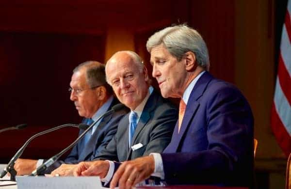 At the Vienna talks on Syria in October at the Grand Hotel, from left: Sergey Lavrov, Russia's foreign minister; Staffan de Mistura, UN envoy for Syria; US Secretary of State John Kerry. US STATE DEPT.