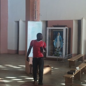 Pascal Lalsaga, a visitor to the Benedictine monastery's chapel, in rural Burkina Faso.