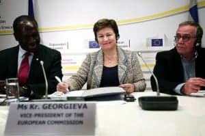 Kristalina Georgieva in Athens in December signing papers for the European Commission