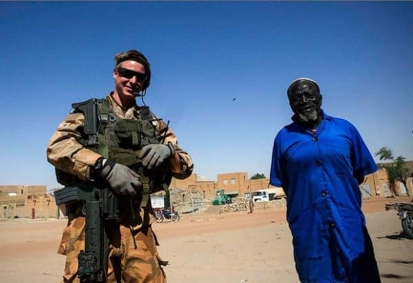 A Minusma officer from Sweden patroling Timbuktu. The UN has a supercamp of about a dozen national troops located near the city's airport. MINUSMA/Harandane Dicko