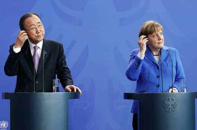 Ban Ki-moon, the UN secretary-general, and Angela Merkel, Germany's chancellor, at a press conference in Berlin on March 8, 2016. EVAN SCHNEIDER/UN PHOTO