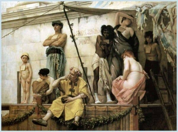 An painting depictingf ancient Rome's slave market, by Gustave Boulanger, from 1881. CREATIVE COMMONS