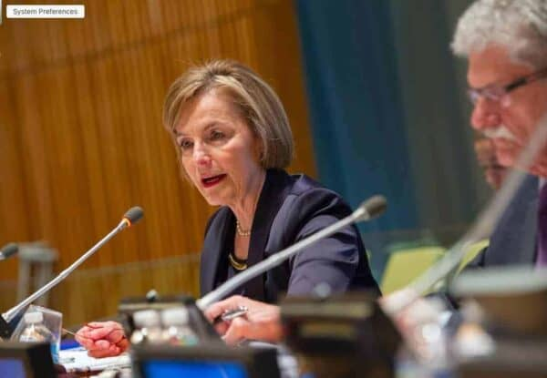 Vesna Pusic, the candidate from Croatia running for UN secretary-general, next to Mogens Lykketoft, the president of the General Assembly.