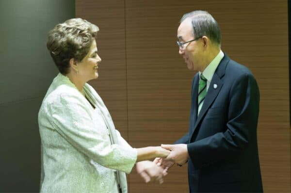 On Earth Day, about 170 countries signed the new international climate agreement, including Dilma Rousseff, president of Brazil, here with Ban Ki-moon, UN secretary-general. MARK GARTEN/UN PHOTO